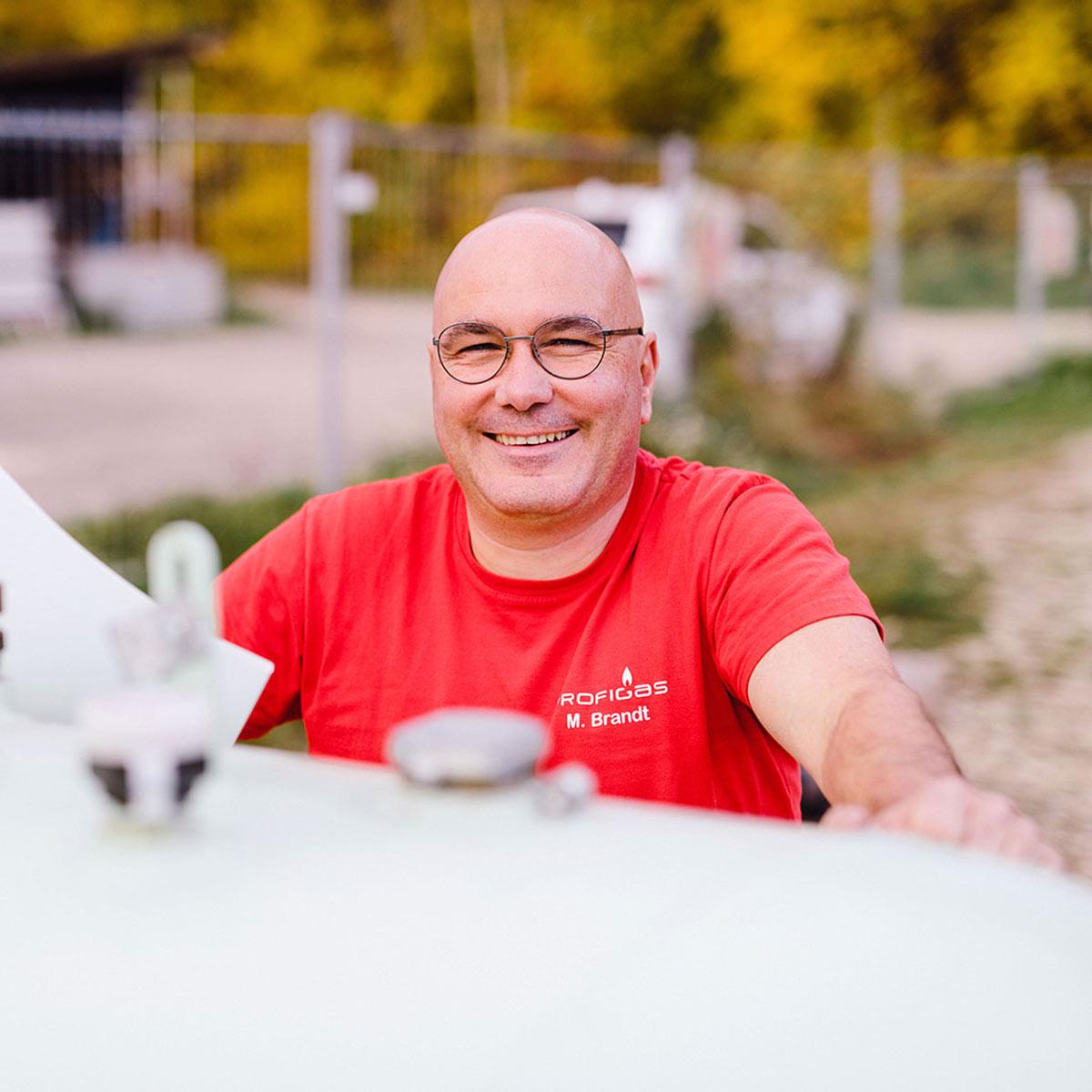 Markus Brandt bei einem Tank